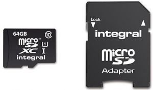 Geheugenkaart Integral Micro SDHC class 10 + adapter 64Gb zw