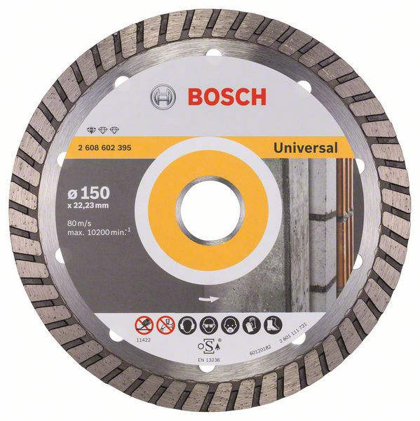 Bosch Accessoires Diamantdoorslijpschijf Standard for Universal Turbo 150 x 22,23 x 2,5 x 10 mm 1st - 2608602395