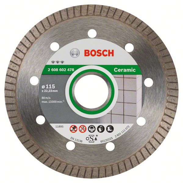 Bosch Accessoires Diamantdoorslijpschijf Best for Ceramic Extraclean Turbo 115 x 22,23 x 1,4 x 7 mm 1st - 2608602478