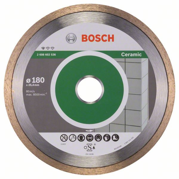 Bosch Accessoires Diamantdoorslijpschijf Standard for Ceramic 180 x 25,40 x 1,6 x 7 mm 1st - 2608602536