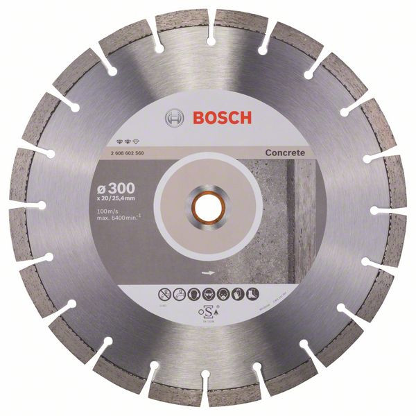 Bosch Accessoires Diamantdoorslijpschijf Expert for Concrete 300 x 20,00+25,40 x 2,8 x 12 mm 1st - 2608602560