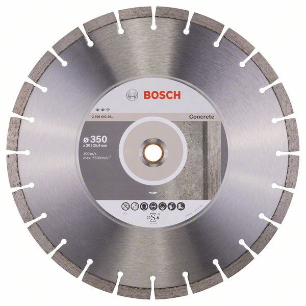 Bosch Accessoires Diamantdoorslijpschijf Expert for Concrete 350 x 20,00+25,40 x 3,2 x 12 mm 1st - 2608602561