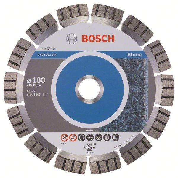 Bosch Accessoires Diamantdoorslijpschijf Best for Stone 180 x 22,23 x 2,4 x 12 mm 1st - 2608602644