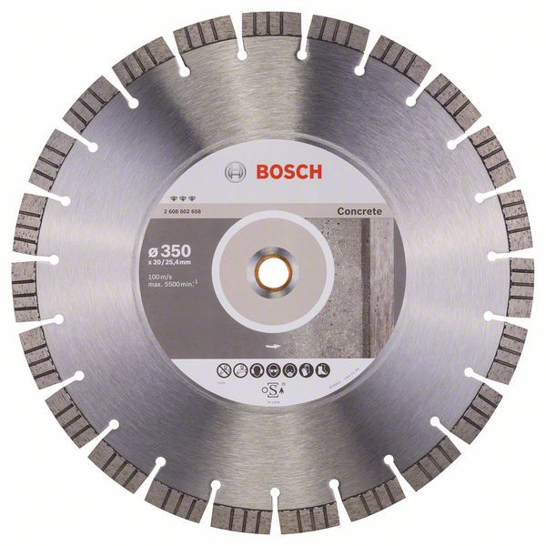 Bosch Accessoires Diamantdoorslijpschijf Best for Concrete 350 x 20,00+25,40 x 3,2 x 15 mm 1st - 2608602658