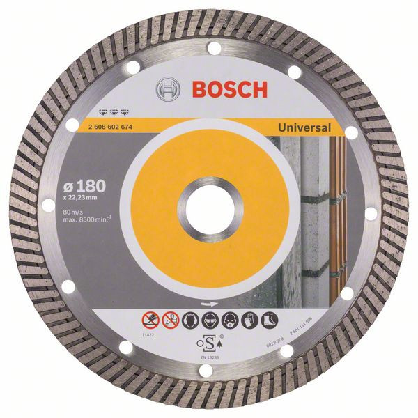 Bosch Accessoires Diamantdoorslijpschijf Best for Universal Turbo 180 x 22,23 x 2,5 x 12 mm 1st - 2608602674