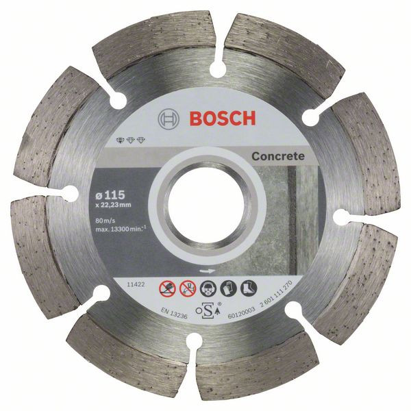 Bosch Accessoires Diamantdoorslijpschijf Standard for Concrete 115 x 22,23 x 1,6 x 10 mm 10st