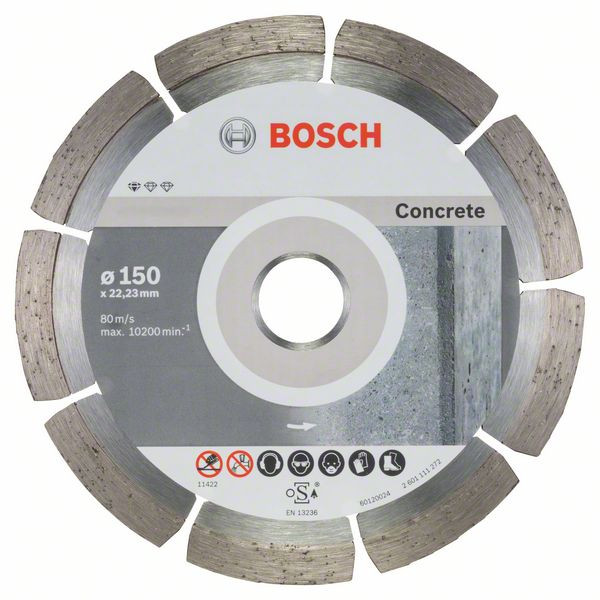 Bosch Accessoires Diamantdoorslijpschijf Standard for Concrete 150 x 22,23 x 2 x 10 mm 10st