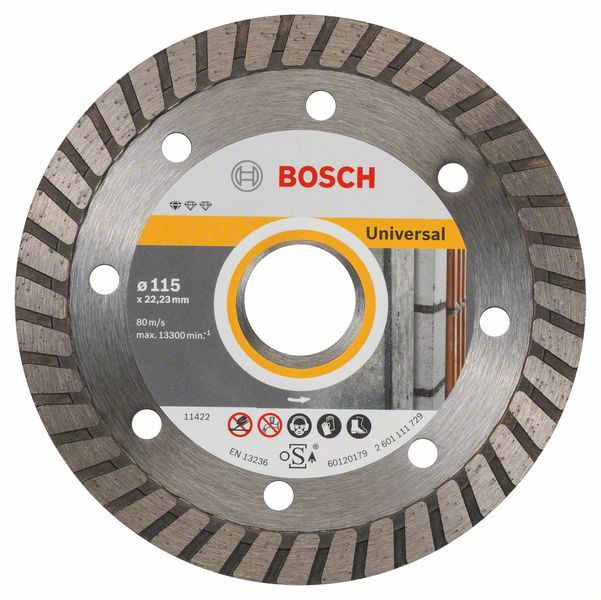 Bosch Accessoires Diamantdoorslijpschijf Standard for Universal Turbo 115 x 22,23 x 2 x 10 mm 10st