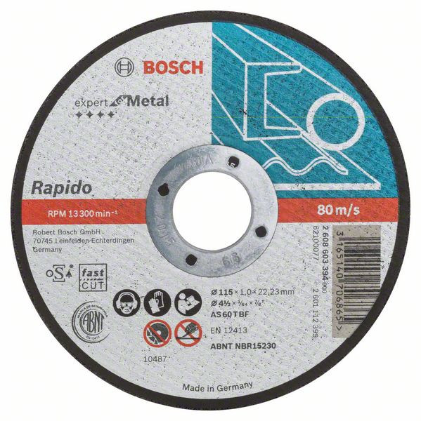Bosch Accessoires Doorslijpschijf recht Expert for Metal - Rapido AS 60 T BF, 115 mm, 22,23 mm, 1,0 mm 25 stuks
