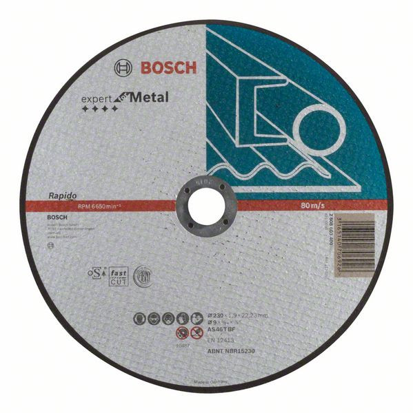 Bosch Accessoires Doorslijpschijf recht Expert for Metal - Rapido AS 46 T BF, 230 mm, 22,23 mm, 1,9 mm 25 stuks