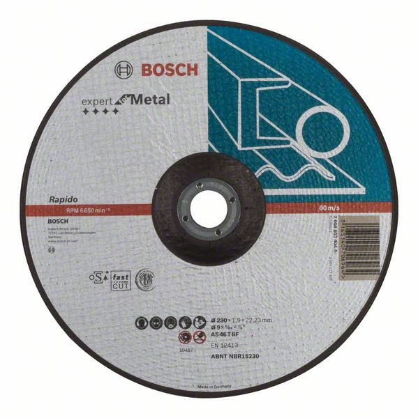 Bosch Accessoires Doorslijpschijf gebogen Expert for Metal - Rapido AS 46 T BF, 230 mm, 22,23 mm, 1,9 mm 25 stuks