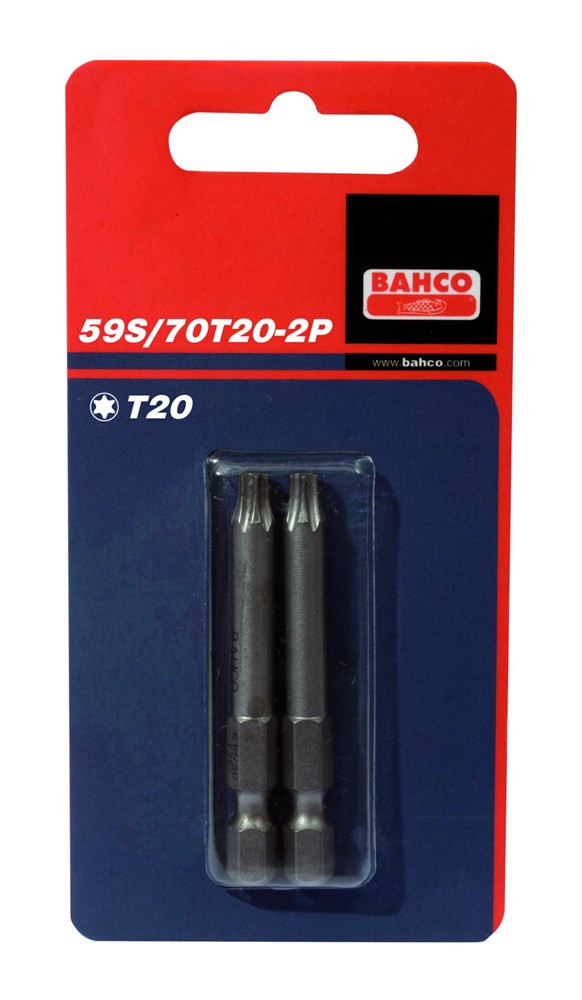 Bahco x2 bits t20 70mm 1-4inch dr standard. | 59S/70T20-2P