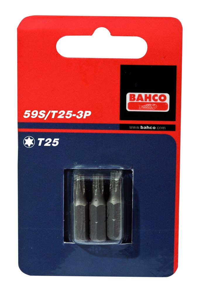Bahco x3 bits t10 25mm 1-4inch dr standard. | 59S/T10-3P