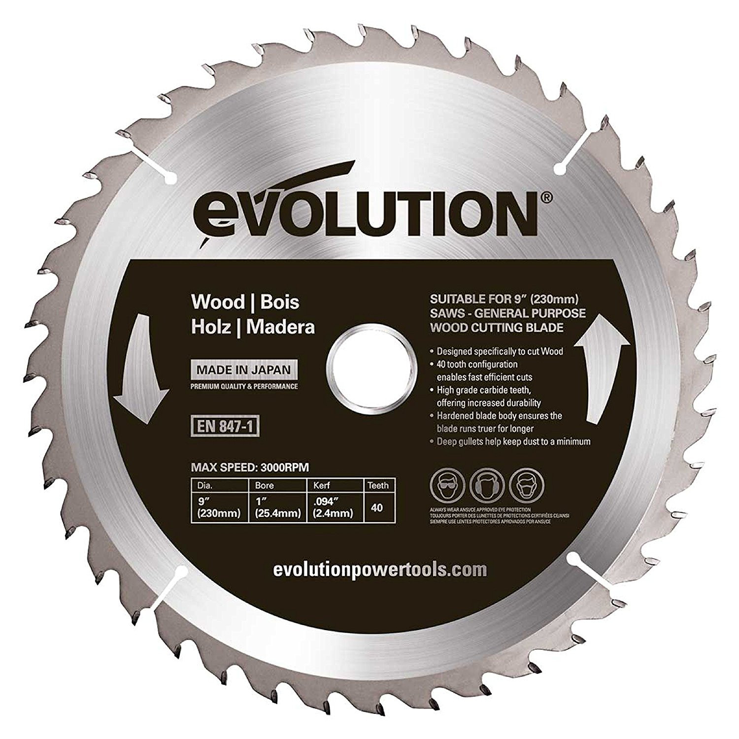 Evolution Zaagblad hout 230mm 30T EVO.230.HOUT - EVO.230.HOUT