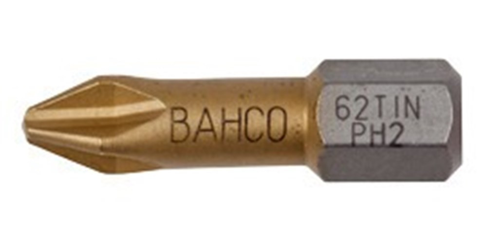 Bahco bit ph2 25mm 1-4 dr tin | 62TIN/PH2 - 62TIN/PH2