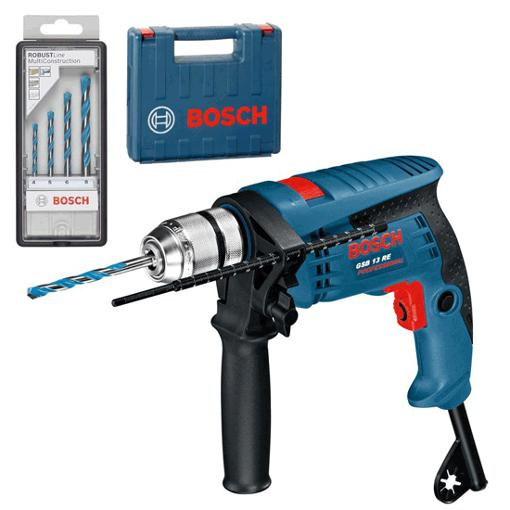 Bosch Blauw GSB 13 RE Klopboormachine in koffer | 600w  | + multiconstruction borenset - 0601217103
