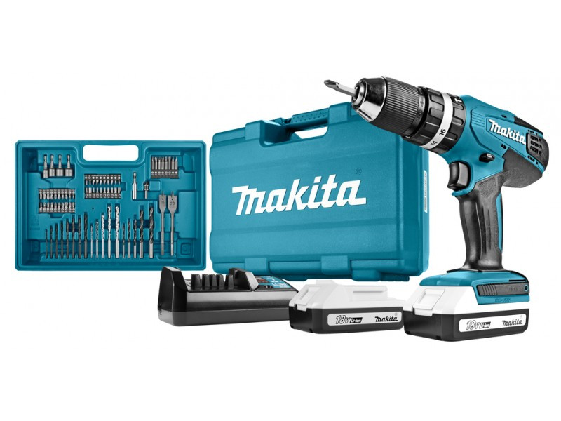 Makita HP457DX100 18 V Li-ion klopboormachine in koffer + acc. set | 2 accu's