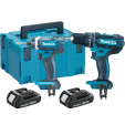 Makita DLX2131JH 18V accu klopboormachine DHP482 + slagschroevendraaier DTD152 combiset (2x 2.0Ah accu) in Mbox