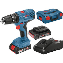 Bosch Blauw GSB 18V-21 Professional Accuklopboorschroevendraaier | 2.0Ah Li-Ion + lader GAL 18 V-40 in L-Boxx