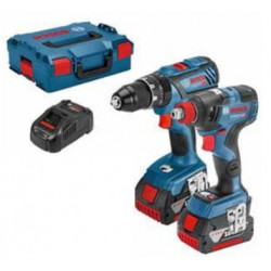 Bosch Blauw GSB 18V-28 Professional Accuklopboorschroevendraaier + GDX 18 V-200 C Accu Slagschroevendraaier | 5.0Ah Li-Ion in L-Boxx