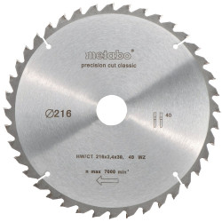 "Metabo Cirkelzaagblad ""Precision Cut"" HW/CT Ø 216 mm, 40 WZ 5°"