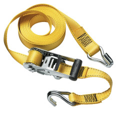 Masterlock Ratchet tie down with J hooks 4,50m - colour : yellow - PVC grip on r