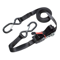 Masterlock Single pack ratchet tie down with S hooks 5m - colour : black