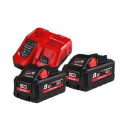 Milwaukee Accessoires M18 HNRG-802 - M18 HB8 DUO Pack 18V 8.0Ah High Output + Lader M12-18FC