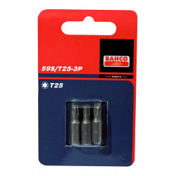 Bahco x3 bits t20 25mm 1-4inch dr standard. | 59S/T20-3P