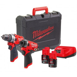 Milwaukee M12FPP2A-202C Powerpack M12FPD + M12FID | 12V 2.0Ah