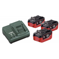 Metabo accessoires Basis-set: Accu-packs + lader Basisset 18 V: 3 x LiHD 5.5 Ah, lader AS