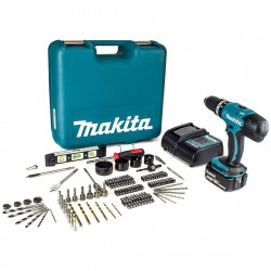 Makita DHP453SFTK 18 V Li-ion klopboormachine in koffer | 1x 3.0Ah accu's + 101 accessoires