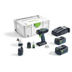 Festool T 18+3 Li 5,2 Set Accuschroefboormachine | Li-ion 5.2Ah