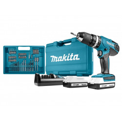 Makita HP457DWE10 18v Klopboor-/schroefmachine + 74-delige acc. set (Accuboormachine) 1