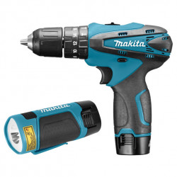 Makita HP330DWLE accu klopboormachine 10,8v + Lamp