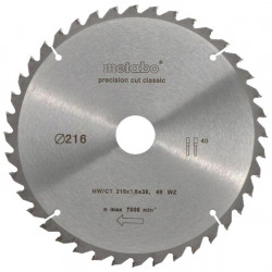 "Metabo Cirkelzaagblad ""Precision Cut"" HW/CT Ø 216 mm, 40T WZ 5°"