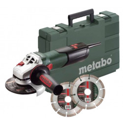 Metabo W 9-125 Quick Haakse slijper 125 mm met Metabo Quick + 2 diamantzaagbladen en koffer