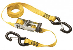 Masterlock Set of 2 ratchet tie downs with S hooks 3m - colour : yellow - PVC gri