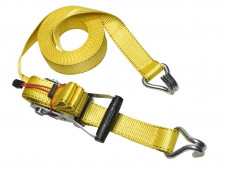Masterlock Ratchet tie down with J hooks 8,25m - colour : yellow - PVC grip on ra