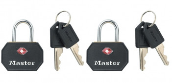 Masterlock 2 x 30mm - 15mm steel shackle, 3mm diam. - aluminium body with ABS pla - 4681EURTBLK