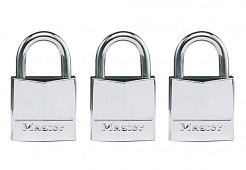 Masterlock 3 x 30mm - 17mm stainless steel shackle, 5mm diam. - double locking - - 639EURTRI