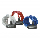 Masterlock 3 coiled cables 1,80mx Ø 8mm - vinyl cover : blue, red & transparent - 8127EURTRI